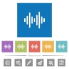 Sound wave flat white icons in square backgrounds - Sound wave flat white icons in square backgrounds. 6 bonus icons included.
