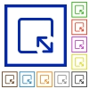 Resize object flat color icons in square frames on white background - Resize object flat framed icons