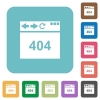 Browser 404 page not found rounded square flat icons - Browser 404 page not found white flat icons on color rounded square backgrounds