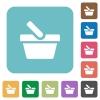 Shopping basket rounded square flat icons - Shopping basket white flat icons on color rounded square backgrounds