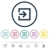 Import with inside arrow flat color icons in round outlines. 6 bonus icons included. - Import with inside arrow flat color icons in round outlines