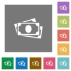 More banknotes square flat icons - More banknotes flat icons on simple color square backgrounds