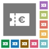 Euro discount coupon square flat icons - Euro discount coupon flat icons on simple color square backgrounds