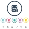 Delete from database flat color icons in round outlines - Delete from database flat color icons in round outlines. 6 bonus icons included.