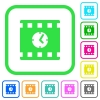 Movie playing time vivid colored flat icons - Movie playing time vivid colored flat icons in curved borders on white background