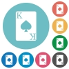 King of spades card flat white icons on round color backgrounds - King of spades card flat round icons