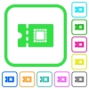 Postal discount coupon vivid colored flat icons - Postal discount coupon vivid colored flat icons in curved borders on white background