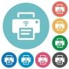 Wireless printer flat round icons - Wireless printer flat white icons on round color backgrounds