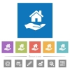 Home insurance flat white icons in square backgrounds - Home insurance flat white icons in square backgrounds. 6 bonus icons included.