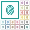 Fingerprint flat color icons with quadrant frames - Fingerprint flat color icons with quadrant frames on white background