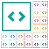 Script code flat color icons with quadrant frames - Script code flat color icons with quadrant frames on white background