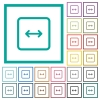 Adjust object width flat color icons with quadrant frames - Adjust object width flat color icons with quadrant frames on white background