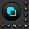 Subtract shapes dark push buttons with color icons - Subtract shapes dark push buttons with vivid color icons on dark grey background