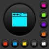 Empty browser window dark push buttons with vivid color icons on dark grey background - Empty browser window dark push buttons with color icons