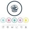 Stack of Dollar coins flat color icons in round outlines - Stack of Dollar coins flat color icons in round outlines. 6 bonus icons included.