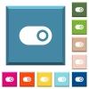 Single horizontal toggle white icons on edged square buttons - Single horizontal toggle white icons on edged square buttons in various trendy colors