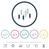Candlestick chart flat color icons in round outlines - Candlestick chart flat color icons in round outlines. 6 bonus icons included.