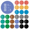 Source code checking round flat multi colored icons - Source code checking multi colored flat icons on round backgrounds. Included white, light and dark icon variations for hover and active status effects, and bonus shades.