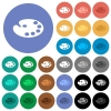 Color palette round flat multi colored icons - Color palette multi colored flat icons on round backgrounds. Included white, light and dark icon variations for hover and active status effects, and bonus shades.