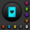 Three of hearts card dark push buttons with color icons - Three of hearts card dark push buttons with vivid color icons on dark grey background