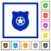 Police badge flat framed icons - Police badge flat color icons in square frames on white background