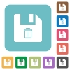 Delete file rounded square flat icons - Delete file white flat icons on color rounded square backgrounds