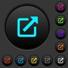 Open in new window dark push buttons with color icons - Open in new window dark push buttons with vivid color icons on dark grey background