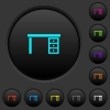 Drawer desk dark push buttons with color icons - Drawer desk dark push buttons with vivid color icons on dark grey background