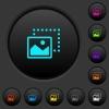 Drag image to bottom left dark push buttons with color icons - Drag image to bottom left dark push buttons with vivid color icons on dark grey background