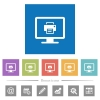 Print screen flat white icons in square backgrounds - Print screen flat white icons in square backgrounds. 6 bonus icons included.