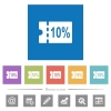 10 percent discount coupon flat white icons in square backgrounds - 10 percent discount coupon flat white icons in square backgrounds. 6 bonus icons included.