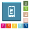 Mobile fine tune white icons on edged square buttons - Mobile fine tune white icons on edged square buttons in various trendy colors