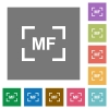 Camera manal focus mode square flat icons - Camera manal focus mode flat icons on simple color square backgrounds