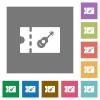 Instrument shop discount coupon square flat icons - Instrument shop discount coupon flat icons on simple color square backgrounds