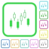 Candlestick chart vivid colored flat icons - Candlestick chart vivid colored flat icons in curved borders on white background