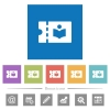 Library discount coupon flat white icons in square backgrounds - Library discount coupon flat white icons in square backgrounds. 6 bonus icons included.