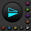 Flip vertical dark push buttons with color icons - Flip vertical dark push buttons with vivid color icons on dark grey background