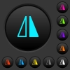Flip horizontal dark push buttons with color icons - Flip horizontal dark push buttons with vivid color icons on dark grey background