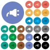 Power plug round flat multi colored icons - Power plug multi colored flat icons on round backgrounds. Included white, light and dark icon variations for hover and active status effects, and bonus shades.