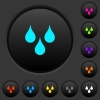 Water drops dark push buttons with color icons - Water drops dark push buttons with vivid color icons on dark grey background