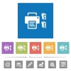 Printer and ink cartridges flat white icons in square backgrounds - Printer and ink cartridges flat white icons in square backgrounds. 6 bonus icons included.