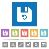 Undo last file operation flat white icons in square backgrounds - Undo last file operation flat white icons in square backgrounds. 6 bonus icons included.