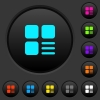 Component options dark push buttons with color icons - Component options dark push buttons with vivid color icons on dark grey background