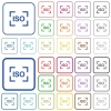 Camera iso speed setting outlined flat color icons - Camera iso speed setting color flat icons in rounded square frames. Thin and thick versions included.
