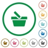 Shopping basket flat icons with outlines - Shopping basket flat color icons in round outlines on white background