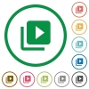 Video library flat color icons in round outlines on white background - Video library flat icons with outlines