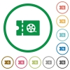Movie discount coupon flat icons with outlines - Movie discount coupon flat color icons in round outlines on white background