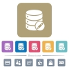 Database edit flat icons on color rounded square backgrounds - Database edit white flat icons on color rounded square backgrounds. 6 bonus icons included