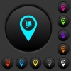 Parcel delivery GPS map location dark push buttons with color icons - Parcel delivery GPS map location dark push buttons with vivid color icons on dark grey background