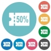 50 percent discount coupon flat round icons - 50 percent discount coupon flat white icons on round color backgrounds